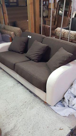 sofa cama de piel blanco de matrimonio