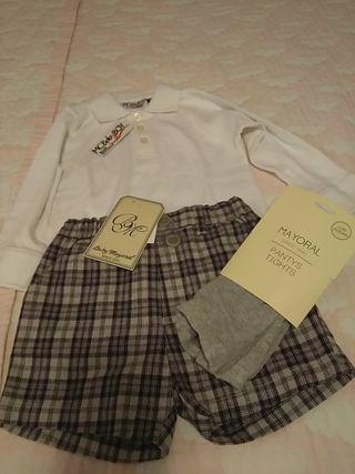 conjunto pantalon polo y pantys mayoral