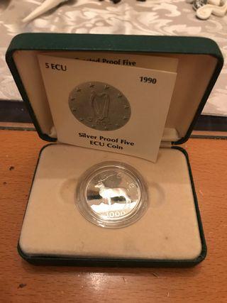 Moneda de plata de Irlanda 5 ecu año 1990
