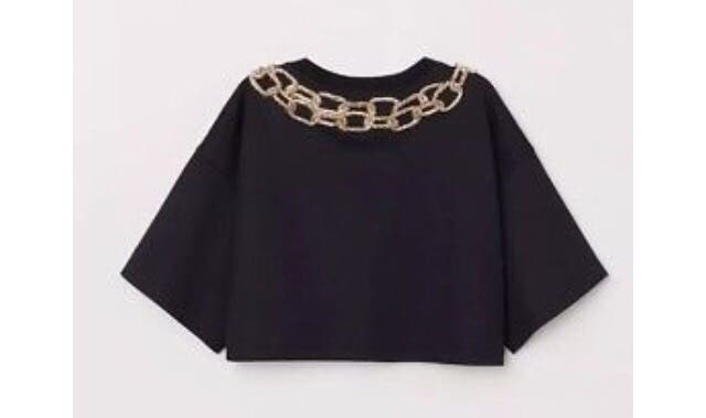 H&M Moschino crop top gold chain size S