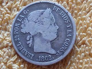 Moneda de plata 4 Reales 1862 Sevilla.