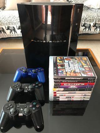 PS3 FAT 60GB + 3 mandos + 9 juegos