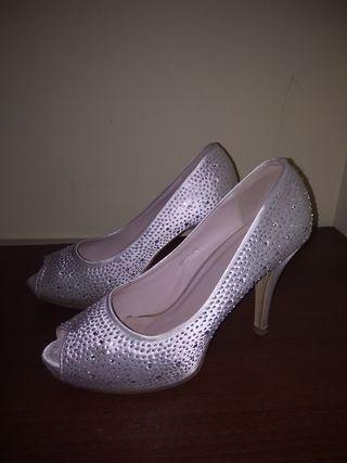 Zapato novia raso y Swarovski