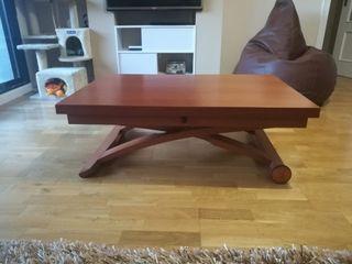 Mesa centro elevable extensible en mesa comedor