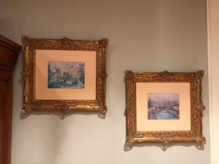 Cuatro cuadros con marco en pan de oro