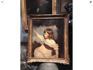 Large antique oil painting on canvas master hare