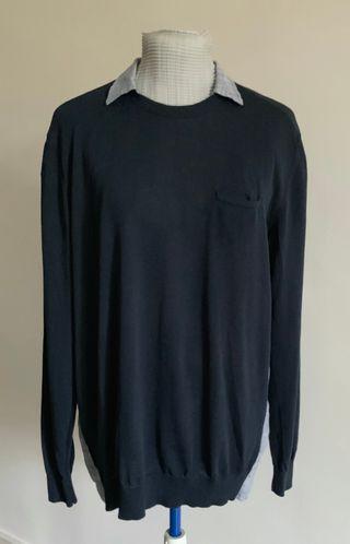 pull chemise coton et lin Marine et bleu T. XL