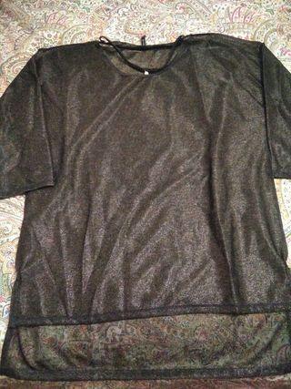 jersey brillante stradivarius negro brillo