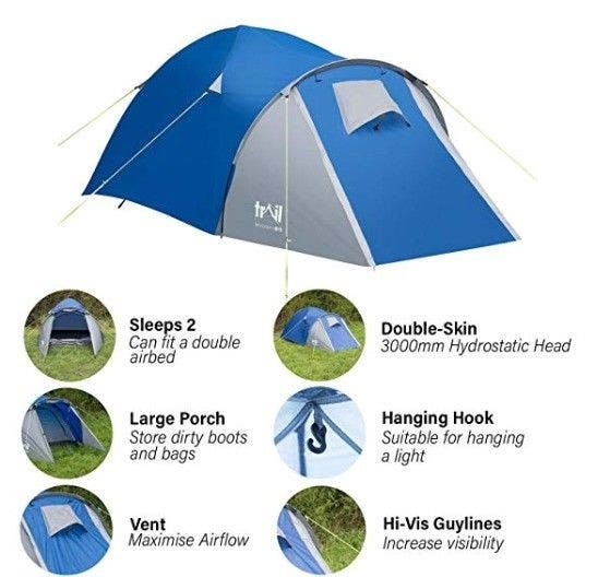 2 adults waterproof tent + Airbed