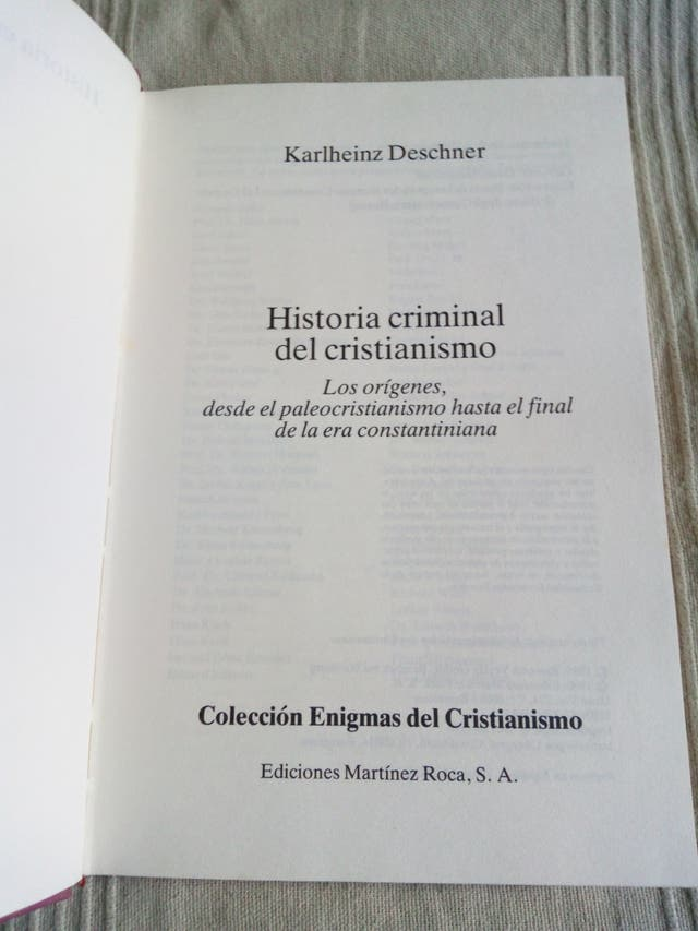 Historia Criminal Del Cristianismo 1 Karlheinz De Segunda Mano