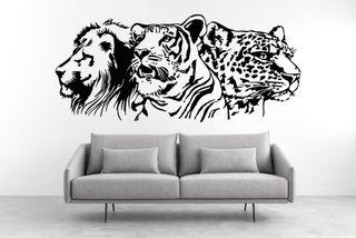 Vinilo decorativo león,tigre y leopardo.