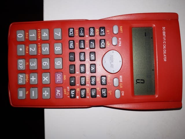 red scientific calculator