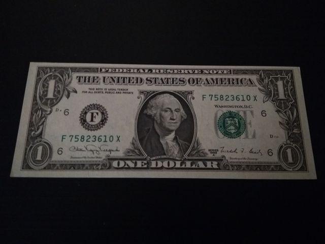 Billete 1 Dolar Americano desplazado