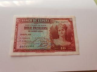 billete de 10 pesetas de 1935