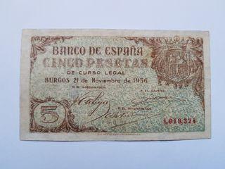 5 pesetas 1936 de Burgos