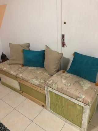 Asiento- baul de madera