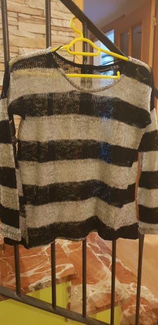 jersey rayas gris y negro talla 34 o s