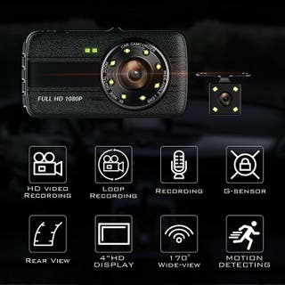 NEW 4Inch Screen Front & Rear Dash Cam HD 1080p