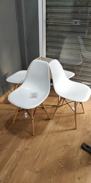 Pack 4 sillas nórdicas blancas