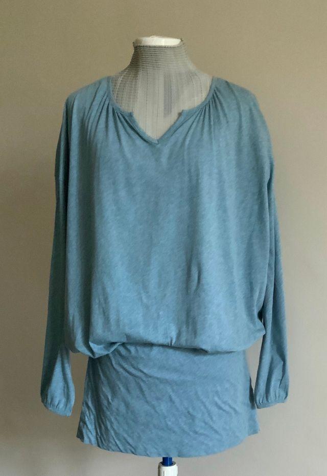 robe tunique ou mini robe coton bleu chiné