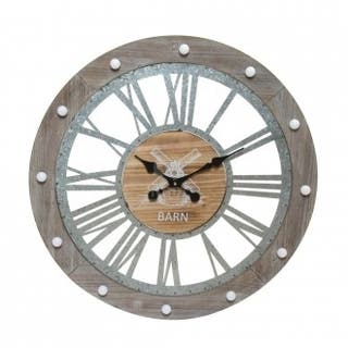 Reloj de pared con luz LED - madera y metal