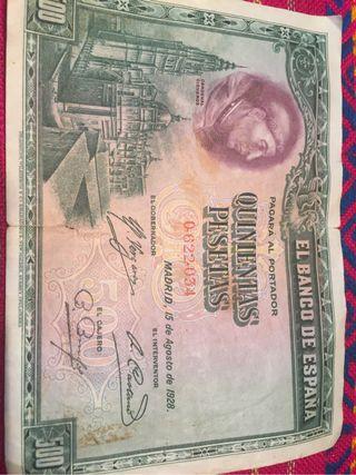 Billete 500 pesetas año 1928