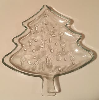 Bandeja de cristal árbol de Navidad.