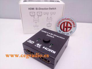Conmutador HDMI Bidireccional 1080p 3D 4 K DVD PS3