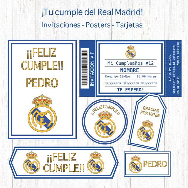 Kit Set Imprimible Real Madrid Cumpleaños Banderol En Madrid