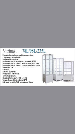 VITRINAS 78l, 98l, 235l expositora sobremostrador