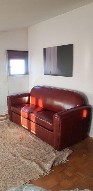 Sofá cama de piel