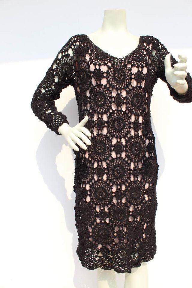 Vestido Dama Negro Tejido Crochet De Segunda Mano Por 40 En Pineda