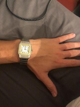 Reloj cartier santos acero y oro unisex