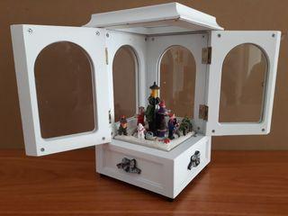 Caja de madera y cristal musical con motivos navid
