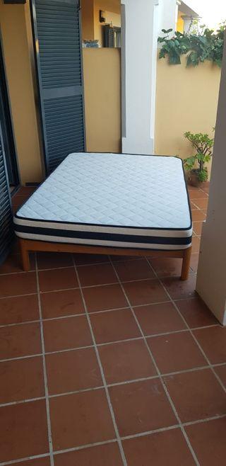 cama doble con colchon viscoelastico