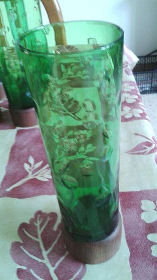 6 vasos de tubo vintage verdes muy bonitos