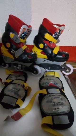 patines normales y línea. regalo accesorios.