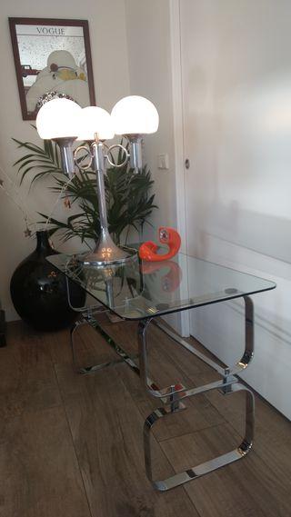 Lámpara mesa o pie vintage tres tulipas