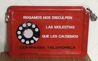 Cartel antiguo trabajos telefónicos