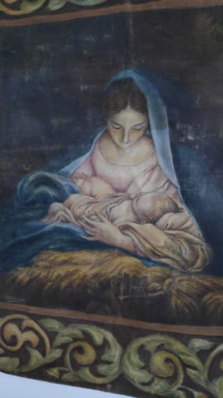 vendo antiguo tapiz de sarga pintado con oleo