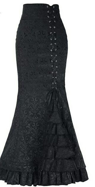 falda brocada negra