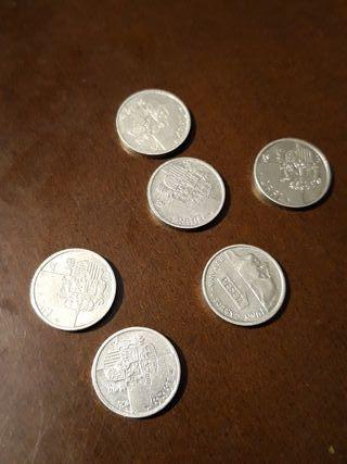 Monedas de 1 peseta año 1989
