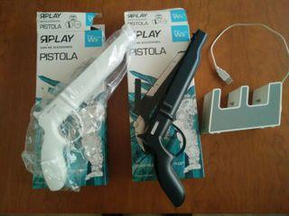 2 Pistolas para mando de wii + cargador mandos