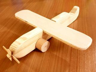 Avión de madera natural ( juguete o decorativo)