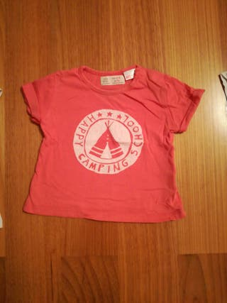 Camisetas manga corta niña. Talla 6-9 meses.