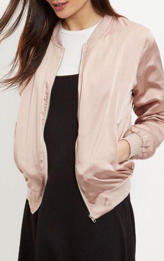 Newlook pink satin bomber jacket