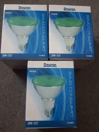 lote 3 bombillas bajo consumo par38 para jardin