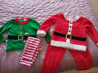 Pijamas navidad unisex. Papa Noel y Elfo