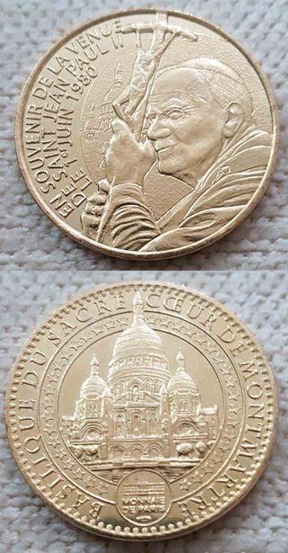 moneda de Papa Juan Pablo II y Francisco
