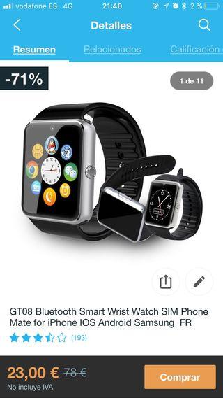 Smartwatch GT08 negro